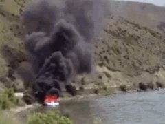Cool way to put out a boat fire