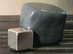 Magnetic putty absorbing a rare-earth magnet