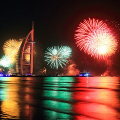 New year firework @ burj al arab, dubai