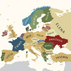 Map of Europe with Most Popular Given Female Names per Country, photo