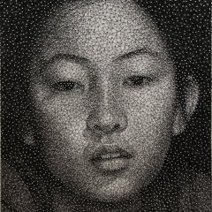 Portrait Made From a Single Thread Wrapped Around Thousands of Nails