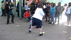 Fat White Kid Dancing At School Playground