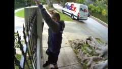 FedEx Guy Throws Computer Screen Delivery Over Fence