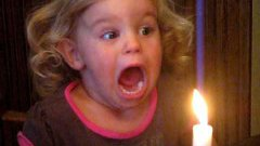 Little Girl Can't Blow Out Candle