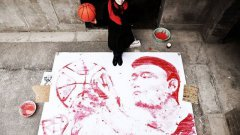 Painting Portrait Of Yao Ming With A Basketball As The Brush