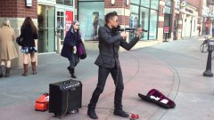 Street Musician Plays Electric Violin
