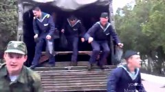 Russian soldiers endlessly exit transport truck