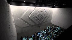 Huge hyper-matrix wall made up of moving cubes Hyundai art piece