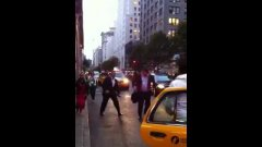 Two guys fighting over taxi nyc