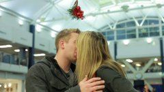 Mistletoe kissing prank