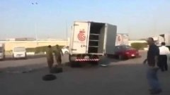 Flipping an over turned truck