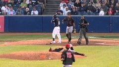 Pitcher Daniel Norris literally saves his face from incoming ball
