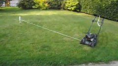 Rope controlled lawn mower