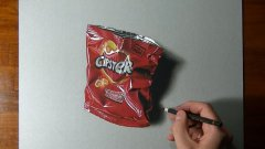 3d drawing of empty bag of chips