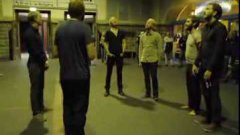 Icelandic vocalists sing in train station