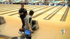 Crazy bowling strike bouncing into the other lane