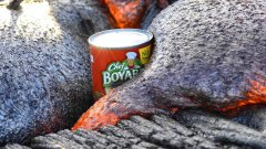 Can Of Chef Boyardee Ravioli Being Smothered By Lava