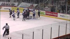 Hockey Ref Crashes Into Goal Post