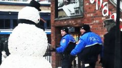 Man In Freaky Snowman Costume Scares People