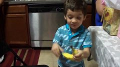 Little Kid Is Excited For Banana Gift
