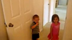 Kids Climb Door Post To Get Candy