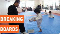 Little Boy Trying To Break Board In Taekwondo