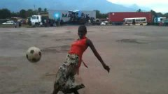 Tanzanian Woman Shows Off Soccer Skills