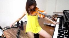 Asian Girl Plays Three Instruments At Once