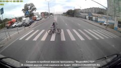 Russian cyclist learns some safety rules