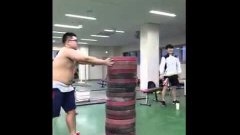 Korean weightlifters plate jumps