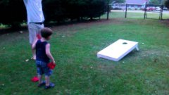 3 Year Old Scores Perfect Game Playing Beanbag Toss