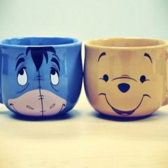 Eeyore and Pooh Bear tea cups