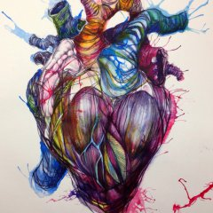 Biro and ink heart