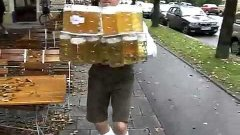 German Beer Server Drops Huge Tray Of Beers