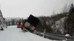 Tow Truck Driver Jumps Out Of Truck As It Falls Off Cliff