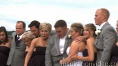 Wedding party falls into lake