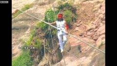 Chinese Dawa Zi acrobat survives high-wire fall