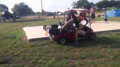 Jump over a golf cart