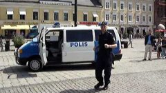 Dancing swedish police man
