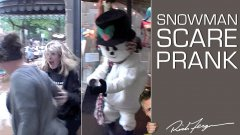 Holiday shopping snowman scare prank