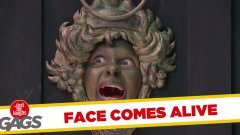 Face door knocker comes to life prank