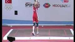 Woman Weight Lifter Almost Hits Referee With Bar Bell