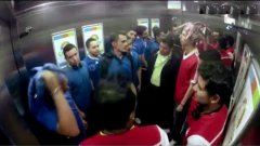 Opposing Soccer Team Fans Fight In Elevator Prank