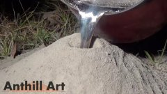 Art Created By Pouring Molten Metal Down Anthill