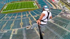 Rope Swing Zipline From Top Of NFL Stadium