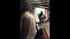 Baritone Saxophone and Drummer Duo in NYC Union Square Subway